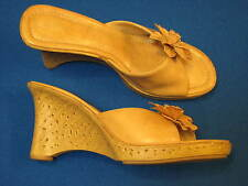 9 FIONI Tan Beige Brown Faux Leather Ladies High Heel Womens Shoes Sandal Slipon