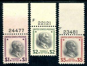 USAstamps Unused VF US $1-5 High Value Presidential Plate Set Sct 832-834 OG MNH