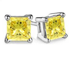 4.00 CT Princess Cut Man Made Diamond Stud Earrings 14K GOLD CANARY YELLOW