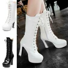 Womens Round Toe High Heel Platform Mid-Calf High Top Boots Patent Leather Shoes