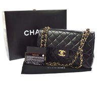 Auth CHANEL Quilted CC Double Flap Chain Shoulder Bag Black Leather GHW JT06620i
