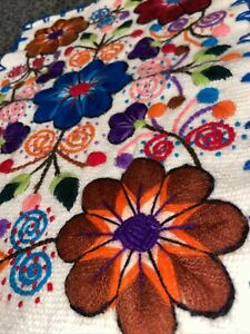Peruvian Embroidered Handmade Wall Hanging Art Canvas Floral Colour Unique Gift