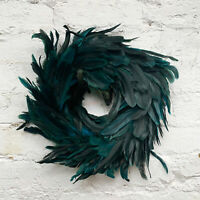 Faux Peacock Green Feather Wreath Christmas Wall Door Hanging Decoration Large