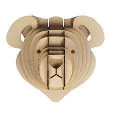 L/ S Wooden Teddy Bear Trophy Animal Head 3D Wall Art Kids - Home Decor Hanging