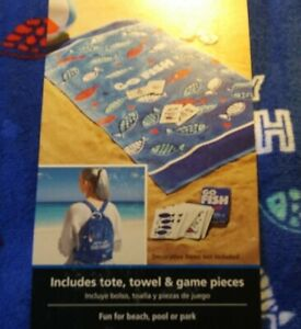 📌📌Go Fish Portable Backpack Family Game Towel  Beach Activity Blue✔Lot#72