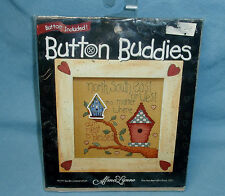 1997 BUCILLA Alma Lynne Button Buddies Counted Cross Stitch OUR NEST IS BLESSED