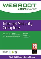 Webroot secureanywhere Internet Security completo 2020, 3 dispositivi 1 ANNO cartolina