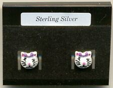 Cat Glitter Resin Face Children kids Sterling Silver 925 Studs Earrings Carded