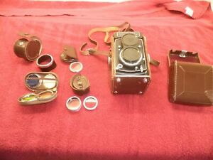 Vintage Rolleicord camera with accessories