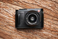 Genuine Real Leather Half Camera Case Bag Cover for Leica Q Typ 116 Black