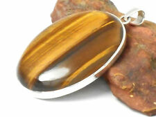 Large  TIGER'S  EYE   Sterling  Silver  Gemstone  PENDANT  925 - Gift  Boxed!