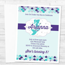 8 Mermaid Under The Sea Birthday or Baby Shower Personalized Invitations