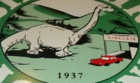 "VINTAGE 1937 ""SINCLAIR DINOSAUR GAS"" 11 3/4"" PORCELAIN METAL GASOLINE & OIL SIGN"