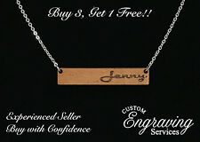 Wood NAME BAR Necklace with Polished Stainless Steel Chain - Buy 3, Get 1 FREE!!