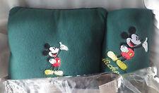 Disney Mickey Mouse & Co. Fleece Throw 44 x 65 & Pillow Green 13 x 13 New