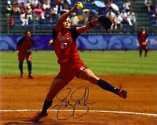USA Gold medalist  Jennie Finch autographed great action color Photo bonus 4x6 *