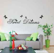 Wall Art Mural Decal Sticker Home Decor Sweet Dreams Letters Butterfly UK