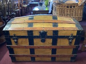 Dome Top Wood Banded Antique Vintage Steamer Trunk Pirate Chest
