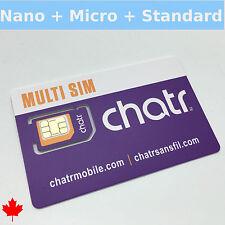 Brand New Chatr CANADA 4G LTE Multi Sim Card - Nano Micro Standard 3 in 1 Combo