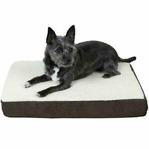 Furhaven Pet Dog Bed - Deluxe Orthopedic Mat Sherpa and Suede Traditional Foa...