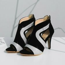 Elegant Women Hollow Out Open Toe High Heel Back Zip Ankle Boots Sandals Party