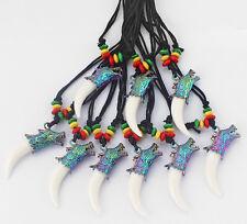12pcs Rasta Beads Faux Yak Bone Wolf Tooth Teeth Head Pendant Necklace