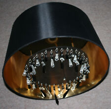 LAURA ASHLEY Leo Beaded Shade D39cm Drum Shape Black/Gold Ceiling/Lampshade TORN