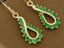 E046- Genuine 9K 9ct SOLID Gold NATURAL Emerald DROP Earrings Swirl Dangles