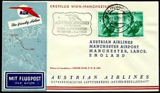 Austria, First Fly Cover, Wien - Manchester, Year 1959, Austrian Airlines