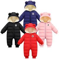 Newborn Infant Baby Boys Girls Hooded Thick Snowsuit Romper Coat Outwear Jacket