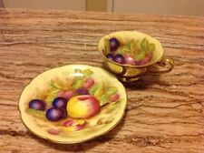 Hand Painted Fruit Tea Cup and Saucer Made in Occupied Japan Yellow