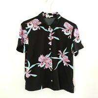 Vans Women's Shirt Tropical Black Floral Short Sleeve Button Up Size XS