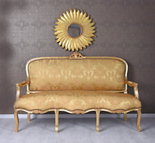 Golden Sofa Baroque Rococo Style Salon Louis XV Palace Upholstered Couch Carved