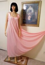 LUCIE ANN VTG Nylon Antron LT PINK Satin Banded Sleeve Nightgown size L large