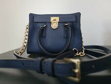 Michael Kors Hamilton small Navy leather And Gold Micro Chain Crossbody Bag mini