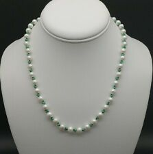 Genuine Akoya Pearl Necklace With Natural Emeralds Round White Pearls