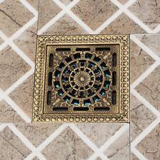 Antique Brass 12*12cm Square Flower Carved Shower Waste Water Floor Insert Drain