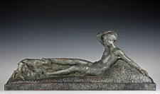 Große 75cm Art Deco Skulptur Terracotta 1930 Mädchen mit Zicklein Georges Gori