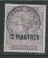 BRITISH LEVANT 1885-88 12pi on 2s6d LILAC ON WHITE PAPER FU SG 3a CAT £26