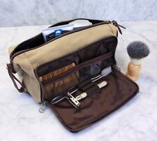 Canvas & Leather Mens Toiletry Travel Bag Kit  with YKK Zipper