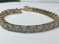Rare 18.19g Silver 925 Bracelet CZ colorless Trilliant Gem Stone Estate Vintage