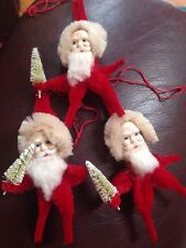 "VINTAGE CHENILLE 4"" PIPE CLEANER SANTA CLAUS W/ Bottle TREE CHRISTMAS ORNAMENT"