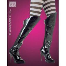 Black Leather Look Boot Covers Pirate Mistress Dominatrix Fancy Dress Accessory
