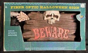 Gemmy Halloween Fiber Optic Beware Sign Lights & Sounds Skull In Box With Insert