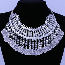 Summer Women Antiqued Silver Coins Statement Bib Chunky Choker Necklace Jewelry