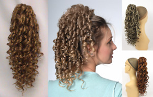 """16"""" LONG SPIRAL CORKSCREW CURLS CURLY HAIRPIECE PONYTAIL LAYERED ENDS CLAW CLIP"""