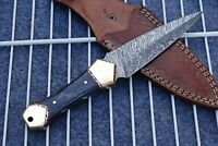 HAND FORGED DAMASCUS STEEL KNIFE W/ WOOD & BRASS HANDLE Q-860