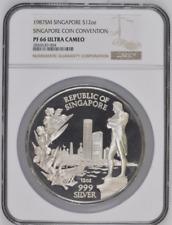 1987 SM Singapore Silver 12oz Singapore Coin Convention Medal NGC PF66UC #2