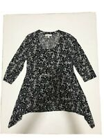Chaus New York Tunic 3/4 Sleeve Black White Women's Blouse Size M