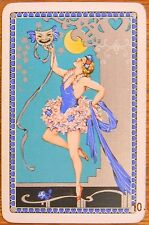 PRETTY LADY BALLERINA at THEATRE - FACE MASK - VINTAGE UK SWAP PLAYING CARD
